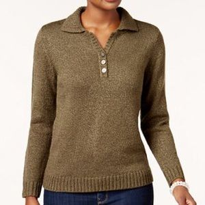 Karen Scott Point-Collar Sweater Olive Petite XL